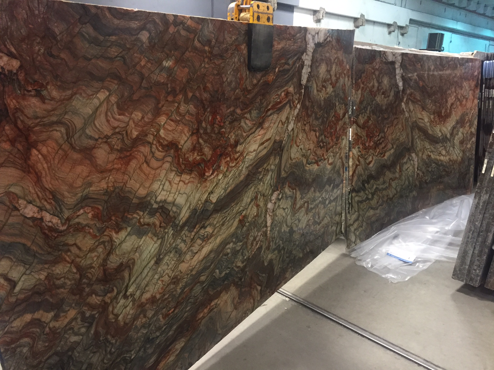 "The two Fusion WOW Quartzite slabs we have are ""booked"" with matching patterns that flow together"
